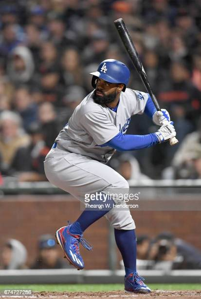 Andrew Toles of the Los Angeles Dodgers bats against the San Francisco Giants in the top of the six inning at ATT Park on April 26 2017 in San...