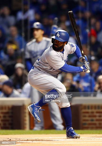 Andrew Toles of the Los Angeles Dodgers bats during the game against the Chicago Cubs at Wrigley Field on Wednesday April 12 2017 in Chicago Illinois