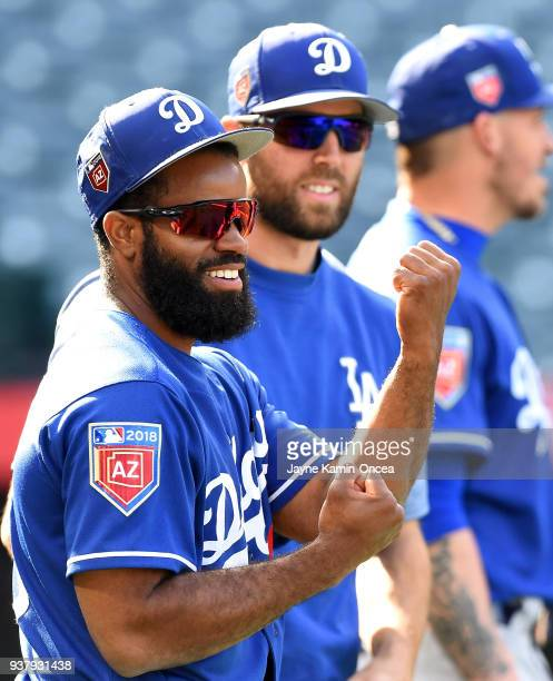 Andrew Toles of the Los Angeles Dodgers before the spring training game against the Los Angeles Angels of Anaheim at Angel Stadium on March 25 2018...