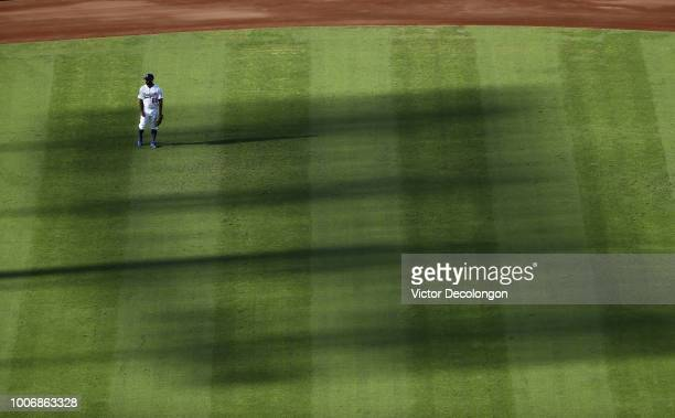 Andrew Toles of the Los Angeles Dodgers looks on from center field during the MLB game against the Los Angeles Angels of Anaheim at Dodger Stadium on...
