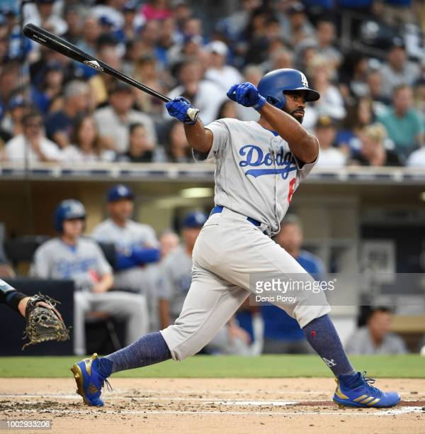 Andrew Toles of the Los Angeles Dodgers plays during a baseball game against the San Diego Padres at PETCO Park on July 12 2018 in San Diego...