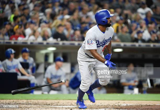 Andrew Toles of the Los Angeles Dodgers plays during a baseball game against the San Diego Padres at PETCO Park on July 11 2018 in San Diego...