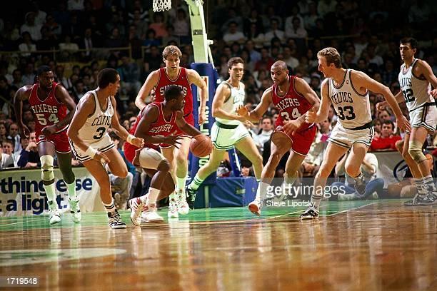 Andrew Toney of the Philadelphia 76ers leads the break down court against the Boston Celtics at the Boston Garden in 1987 in Boston Massachusetts...