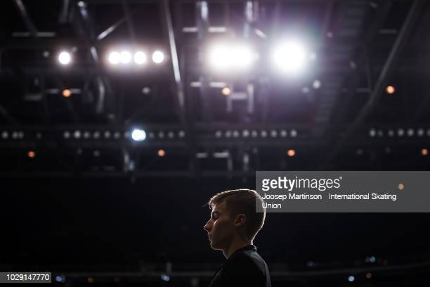 Andrew Torgashev of the United States prepares in the Junior Men's Free Skating during day three of the ISU Junior Grand Prix of Figure Skating Amber...