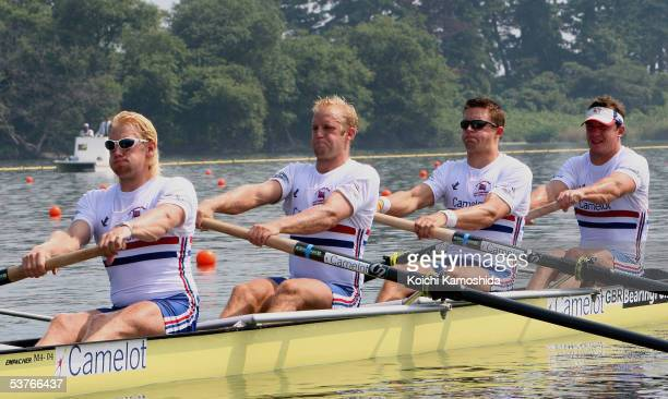 Andrew Triggs Hodge Alex Partridge Peter Reed and Steve Williams of Great Briatin in action during the Men's Four Semifinal at the World Rowing...