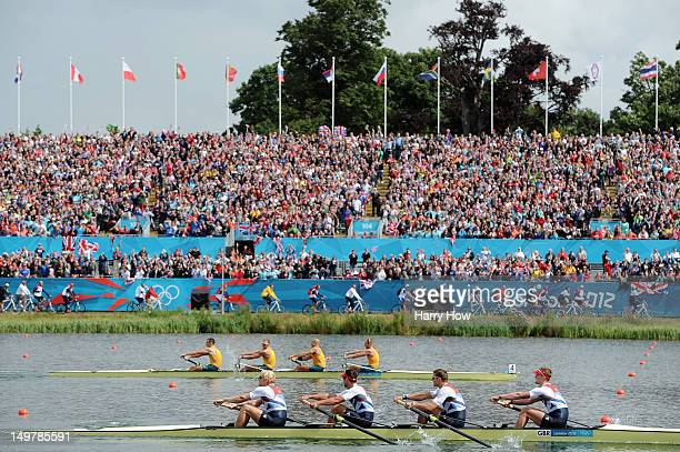 Andrew Triggs Hodge Tom James Pete Reed and Alex Gregory of Great Britain lead Joshua DunkleySmith Drew Ginn James Chapman and William Lockwood of...