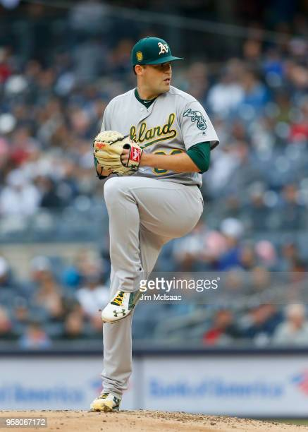 Andrew Triggs of the Oakland Athletics in action against the New York Yankees at Yankee Stadium on May 12 2018 in the Bronx borough of New York City...