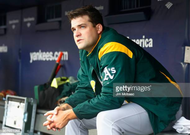 Andrew Triggs of the Oakland Athletics looks on before a game against the New York Yankees at Yankee Stadium on May 12 2018 in the Bronx borough of...