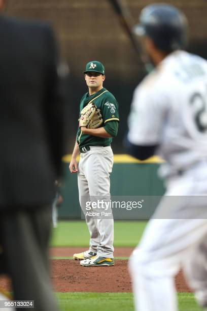 Andrew Triggs of the Oakland Athletics looks on in the first inning against the Seattle Mariners during their game at Safeco Field on May 1 2018 in...