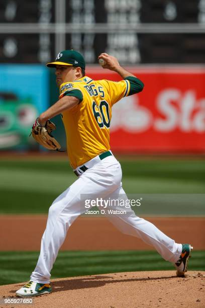 Andrew Triggs of the Oakland Athletics pitches against the Baltimore Orioles during the first inning at the Oakland Coliseum on May 6 2018 in Oakland...