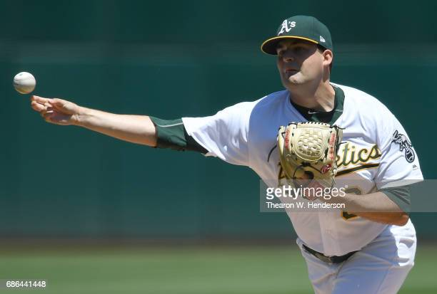 Andrew Triggs of the Oakland Athletics pitches against the Boston Red Sox in the top of the first inning at Oakland Alameda Coliseum on May 21 2017...