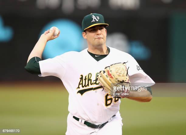 Andrew Triggs of the Oakland Athletics pitches against the Detroit Tigers in the second innig at Oakland Alameda Coliseum on May 5 2017 in Oakland...