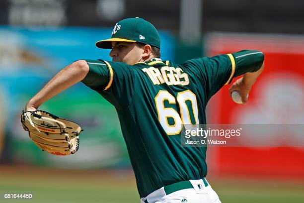 Andrew Triggs of the Oakland Athletics pitches against the Los Angeles Angels of Anaheim during the first inning at the Oakland Coliseum on May 10...
