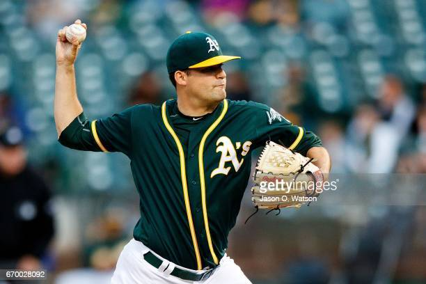 Andrew Triggs of the Oakland Athletics pitches against the Texas Rangers during the second inning at the Oakland Coliseum on April 18 2017 in Oakland...
