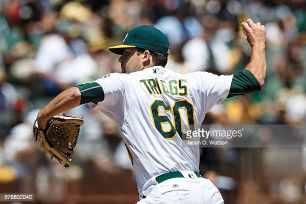 Andrew Triggs of the Oakland Athletics pitches against the Toronto Blue Jays during the first inning at the Oakland Coliseum on July 17 2016 in...