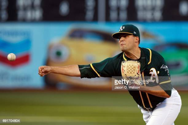 Andrew Triggs of the Oakland Athletics pitches against the Washington Nationals during the first inning at the Oakland Coliseum on June 2 2017 in...