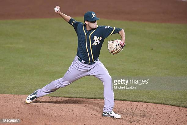Andrew Triggs of the Oakland Athletics pitches during game two of a double header baseball game against the Baltimore Orioles at Oriole Park at...