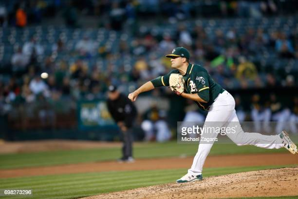 Andrew Triggs of the Oakland Athletics pitches during the game against the Washington Nationals at the Oakland Alameda Coliseum on June 2 2017 in...