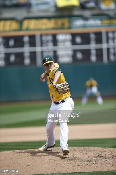 Andrew Triggs of the Oakland Athletics pitches during the game against the Baltimore Orioles at the Oakland Alameda Coliseum on May 6 2018 in Oakland...