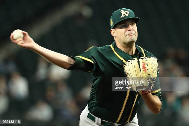 Andrew Triggs of the Oakland Athletics pitches in the fifth inning against the Seattle Mariners during their game at Safeco Field on May 1 2018 in...