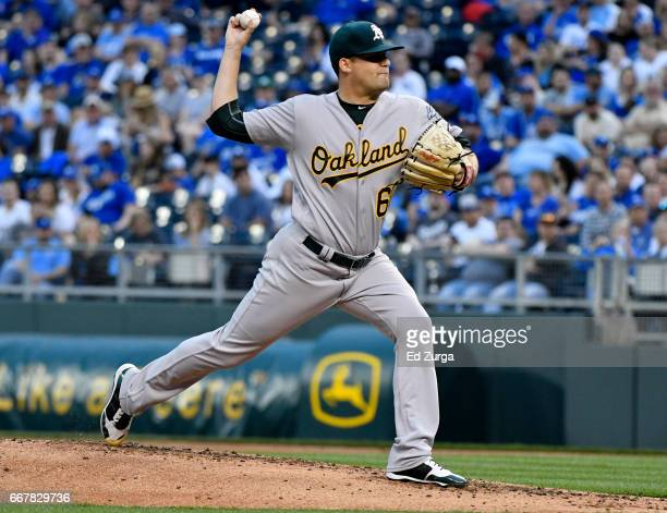 Andrew Triggs of the Oakland Athletics pitches in the first inning against the Kansas City Royals at Kauffman Stadium on April 12 2017 in Kansas City...