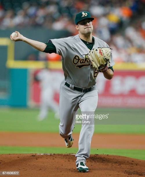 Andrew Triggs of the Oakland Athletics pitches in the first inning against the Houston Astros at Minute Maid Park on April 29 2017 in Houston Texas