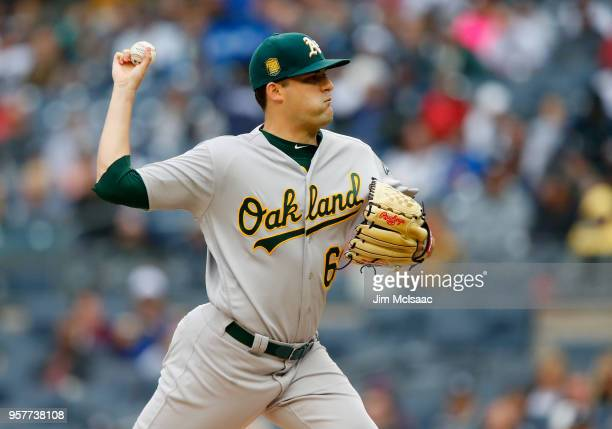 Andrew Triggs of the Oakland Athletics pitches in the first inning against the New York Yankees at Yankee Stadium on May 12 2018 in the Bronx borough...