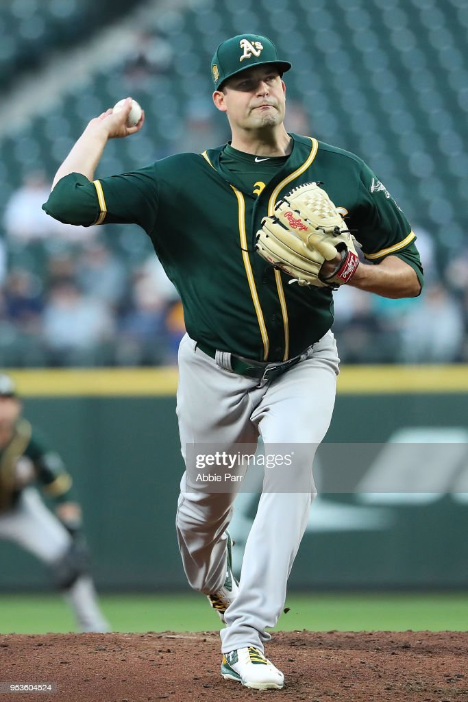 Andrew Triggs #60 of the Oakland Athletics pitches in the fourth inning against the Seattle Mariners during their game at Safeco Field on May 1, 2018 in Seattle, Washington.