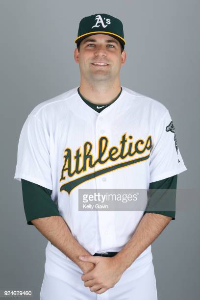 Andrew Triggs of the Oakland Athletics poses during Photo Day on Thursday February 22 2018 at Hohokam Stadium in Phoenix Arizona
