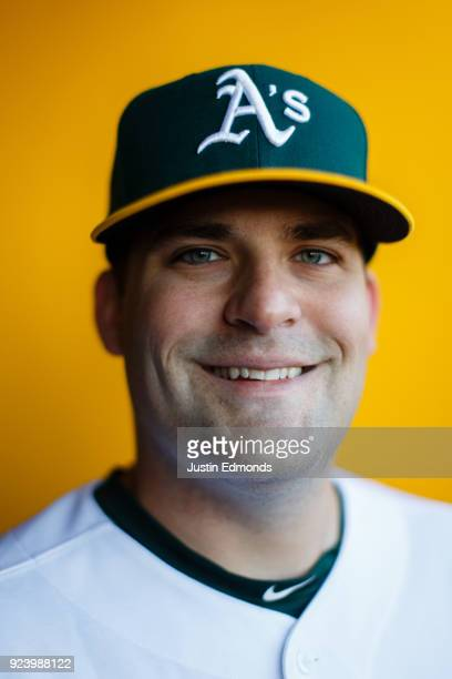 Andrew Triggs of the Oakland Athletics poses for a portrait during photo day at HoHoKam Stadium on February 22 2018 in Mesa Arizona