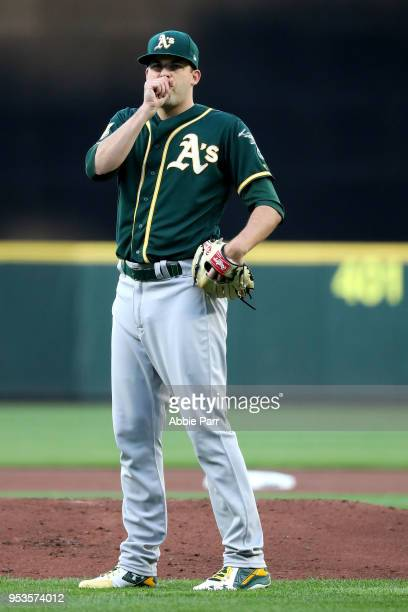 Andrew Triggs of the Oakland Athletics reacts in the first inning against the Seattle Mariners during their game at Safeco Field on May 1 2018 in...