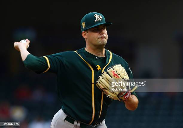 Andrew Triggs of the Oakland Athletics throws in the first inning against the Texas Rangers at Globe Life Park in Arlington on April 24 2018 in...