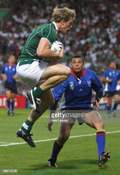 Andrew Trimble of Ireland goes over to score his team's second try during Match Eight of the Rugby World Cup 2007 between Ireland and Namibia at the...