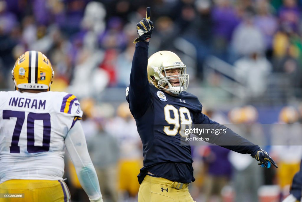 Andrew Trumbetti #98 of the Notre Dame Fighting Irish celebrates in the closing seconds of the Citrus Bowl against the LSU Tigers on January 1, 2018 in Orlando, Florida. Notre Dame won 21-17.