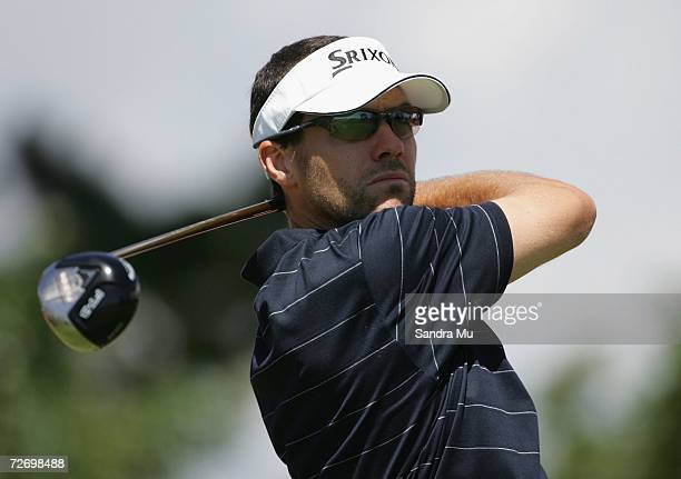 Andrew Tschudin of Australia tees off on the 14th hole during round three of the New Zealand Open at Gulf Harbour Country Club on the Whangaparoa...