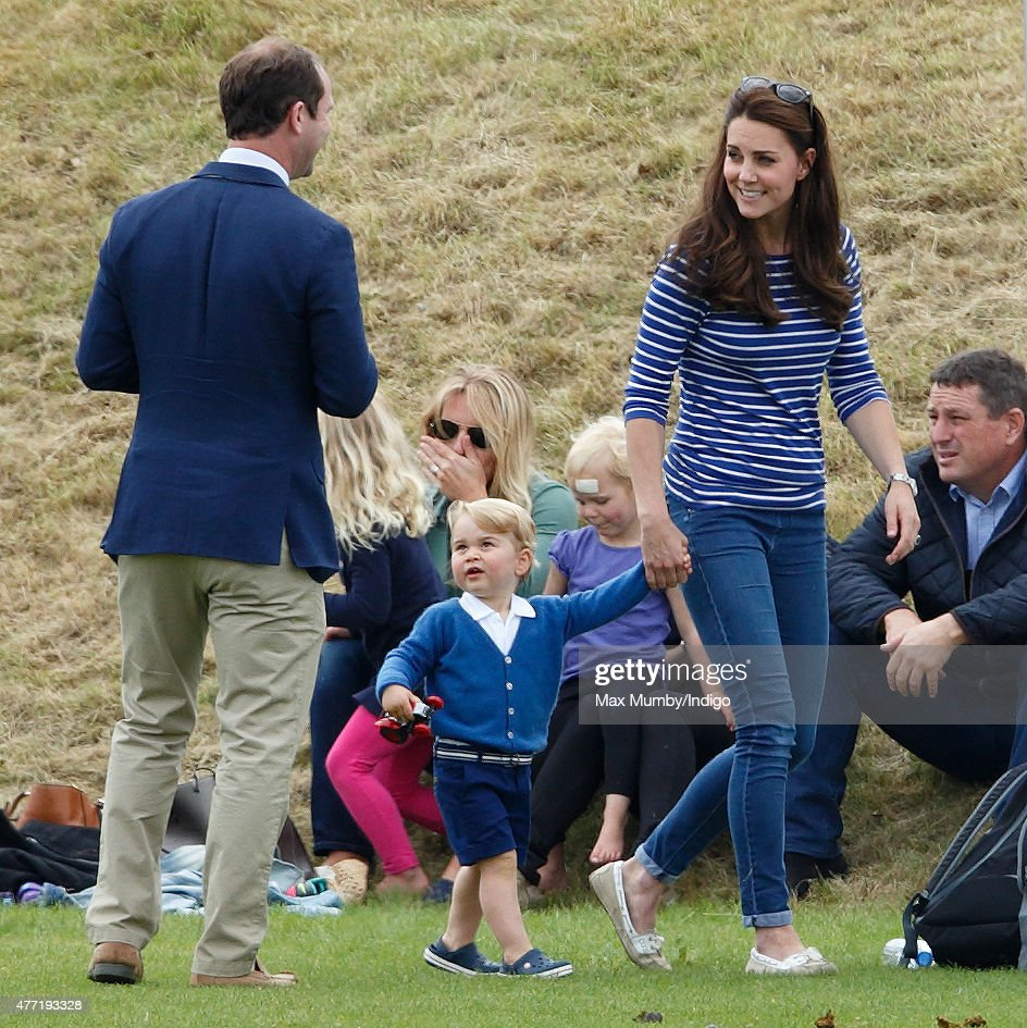 Andrew Tucker, Catherine, Duchess of Cambridge and Prince George of Cambridge attend the Gigaset Charity Polo Match at the Beaufort Polo Club on June 14, 2015 in Tetbury, England.