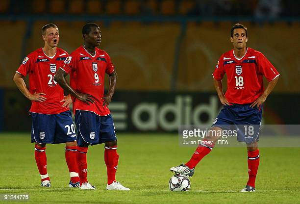 Andrew Tutte Alex TchuimeniNimely and Samel Baldock of England look on after conceding another goal during the Group D FIFA U20 World Cup match...