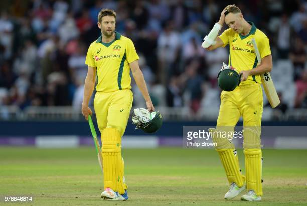 Andrew Tye and Billy Stanlake leave the field after England won the third Royal London OneDay International match between England and Australia at...