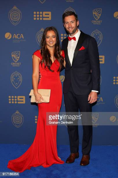 Andrew Tye and Bonnie Raynor arrive at the 2018 Allan Border Medal at Crown Palladium on February 12 2018 in Melbourne Australia