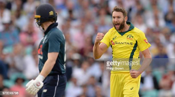 Andrew Tye celebrates after dismissing Eoin Morgan during the first Royal London OneDay International match between England and Australia at the Kia...
