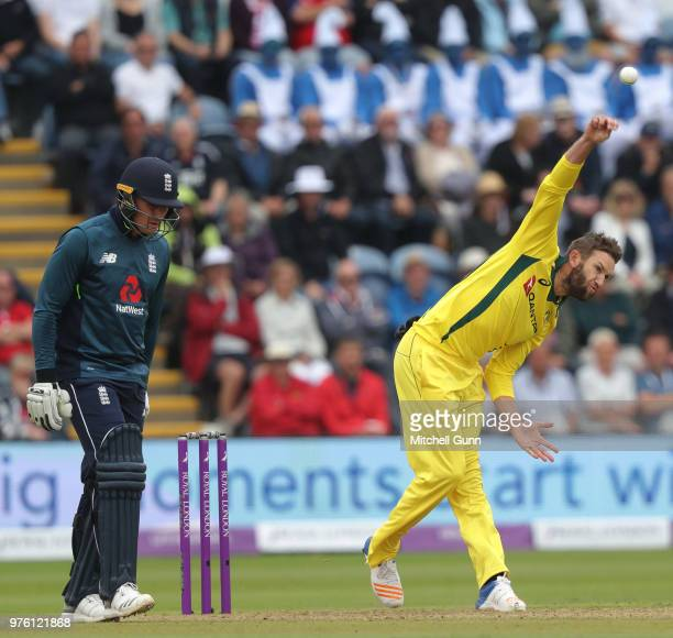 Andrew Tye of Australia bowling as Jason Roy of England looks on during the 2nd Royal London One day International match between England and...