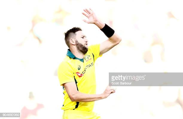 Andrew Tye of Australia bowls during game one of the One Day International Series between Australia and England at Melbourne Cricket Ground on...