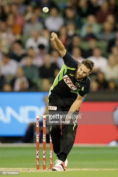 Andrew Tye of Australia bowls during the International Twenty20 match between Australia and India at Melbourne Cricket Ground on January 29, 2016 in...