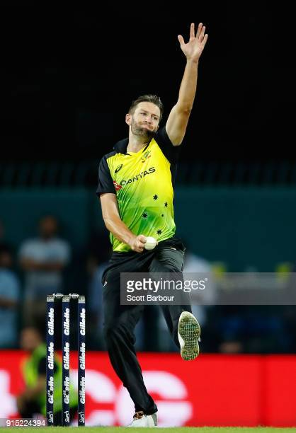 Andrew Tye of Australia bowls during the Twenty20 International match between Australia and England at Blundstone Arena on February 7 2018 in Hobart...