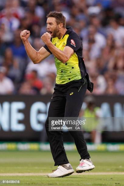 Andrew Tye of Australia celebrates after bowling James Vince of England during game two of the International Twenty20 series between Australia and...