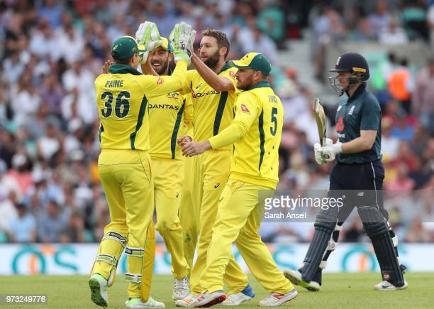 Andrew Tye of Australia celebrates after dismissing the England captain Eoin Morgan during the 1st Royal London ODI between England and Australia at...