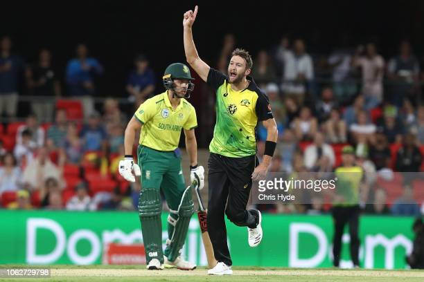 Andrew Tye of Australia celebrates dismissing Chris Morris of South Africa during the International Twenty20 match between Australia and South Africa...