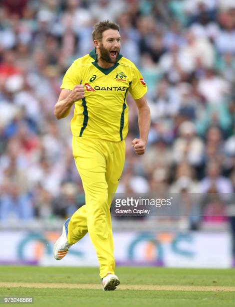 Andrew Tye of Australia celebrates dismissing Eoin Morgan of England during the 1st Royal London ODI match between England and Australia at The Kia...