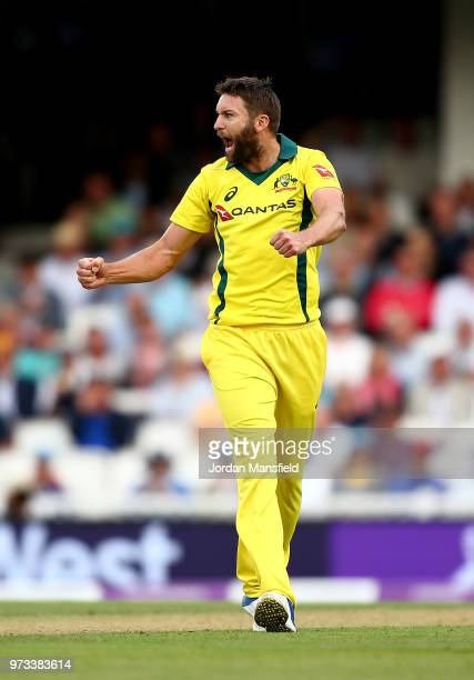 Andrew Tye of Australia celebrates dismissing Joe Root of England during the 1st Royal London ODI match between England and Australia at The Kia Oval...