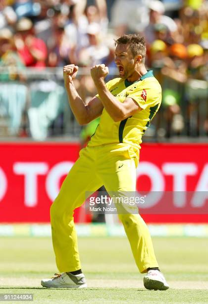 Andrew Tye of Australia celebrates getting the final wicket during game five of the One Day International match between Australia and England at...